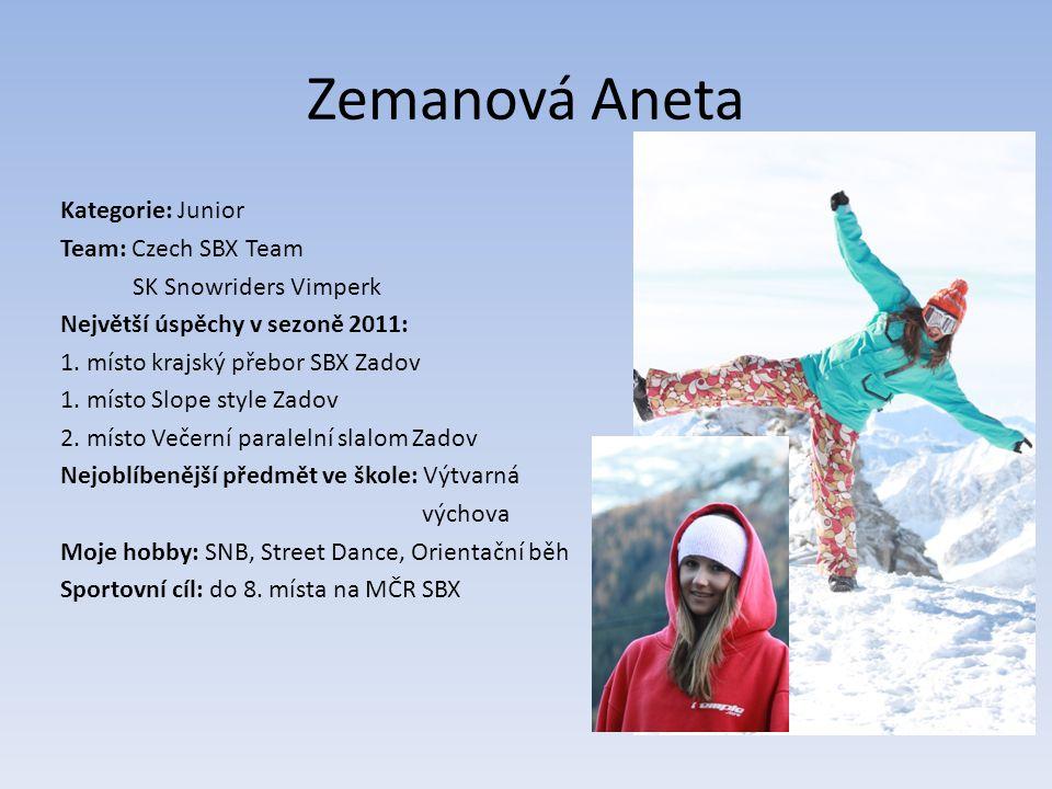 Zemanová Aneta Kategorie: Junior Team: Czech SBX Team SK Snowriders Vimperk Největší úspěchy v sezoně 2011: 1.