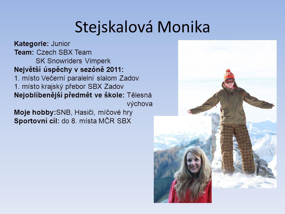 Stejskalová Monika Kategorie: Junior Team: Czech SBX Team SK Snowriders Vimperk Největší úspěchy v sezóně 2011: 1.
