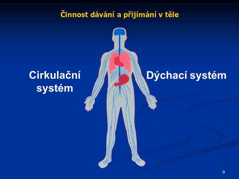9 Činnost dávání a přijímání v těle Cirkulační systém Dýchací systém