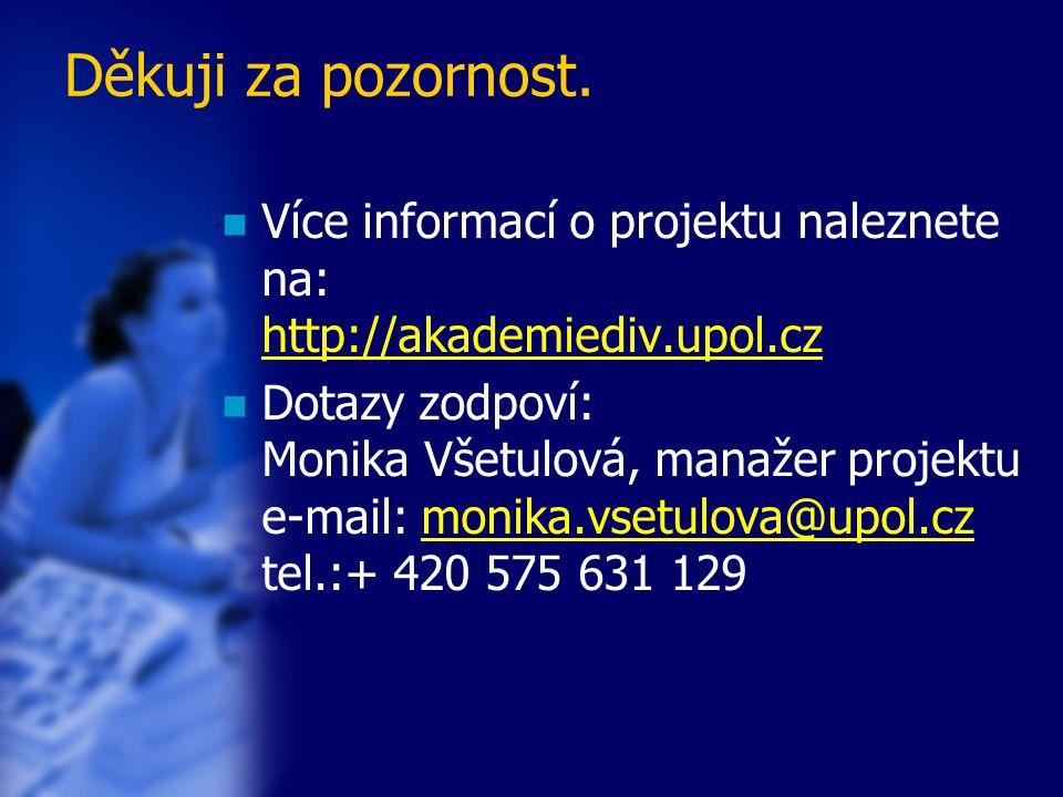 Děkuji za pozornost. Více informací o projektu naleznete na: http://akademiediv.upol.cz http://akademiediv.upol.cz Dotazy zodpoví: Monika Všetulová, m