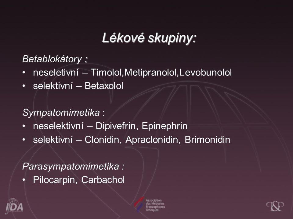 Lékové skupiny: : Betablokátory : neseletivní – Timolol,Metipranolol,Levobunolol selektivní – Betaxolol Sympatomimetika : neselektivní – Dipivefrin, Epinephrin selektivní – Clonidin, Apraclonidin, Brimonidin Parasympatomimetika : Pilocarpin, Carbachol