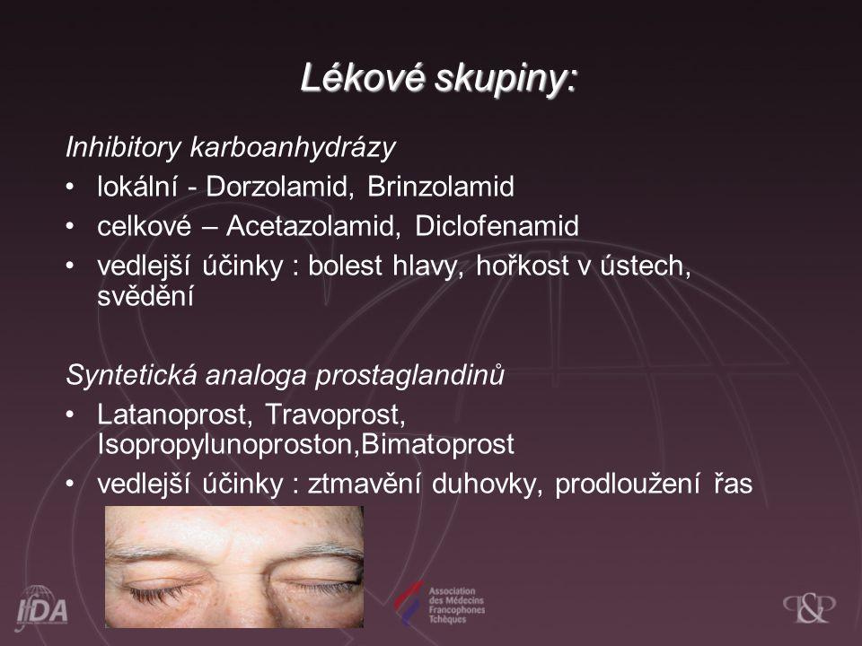 Lékové skupiny: Inhibitory karboanhydrázy lokální - Dorzolamid, Brinzolamid celkové – Acetazolamid, Diclofenamid vedlejší účinky : bolest hlavy, hořkost v ústech, svědění Syntetická analoga prostaglandinů Latanoprost, Travoprost, Isopropylunoproston,Bimatoprost vedlejší účinky : ztmavění duhovky, prodloužení řas
