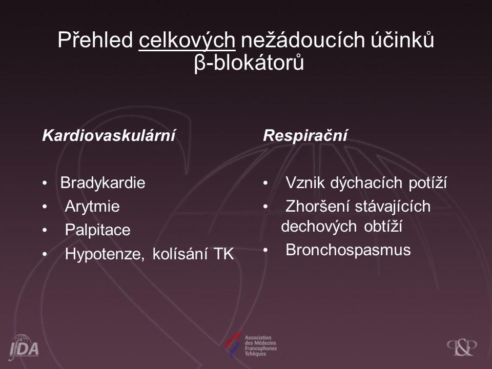 Přehled celkových nežádoucích účinků β-blokátorů Kardiovaskulární Bradykardie Arytmie Palpitace Hypotenze, kolísání TK Respirační Vznik dýchacích potíží Zhoršení stávajících dechových obtíží Bronchospasmus
