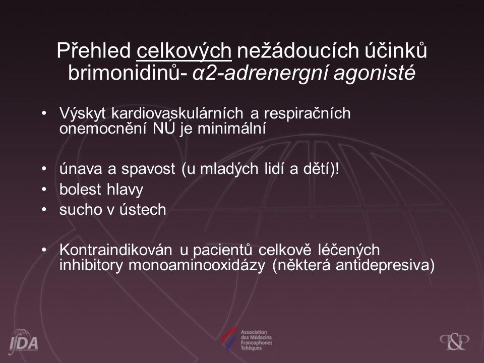 Přehled celkových nežádoucích účinků brimonidinů- α2-adrenergní agonisté Výskyt kardiovaskulárních a respiračních onemocnění NÚ je minimální únava a spavost (u mladých lidí a dětí).