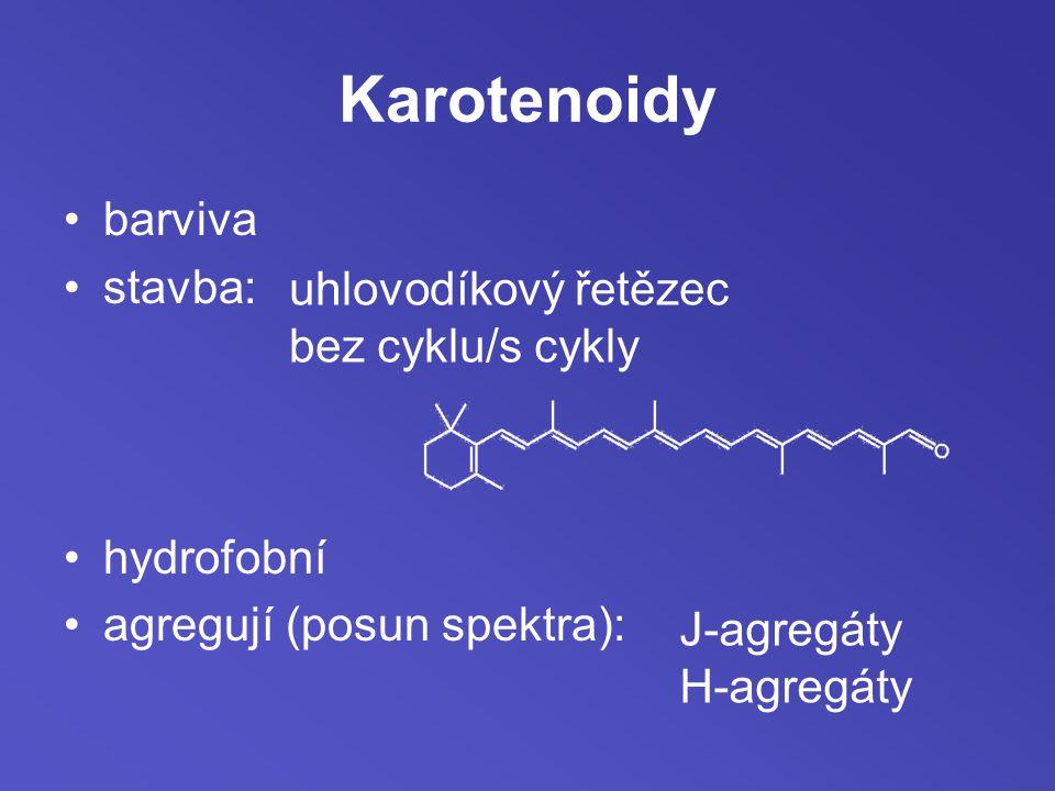 Karotenoidy barviva stavba: hydrofobní agregují (posun spektra): uhlovodíkový řetězec bez cyklu/s cykly J-agregáty H-agregáty