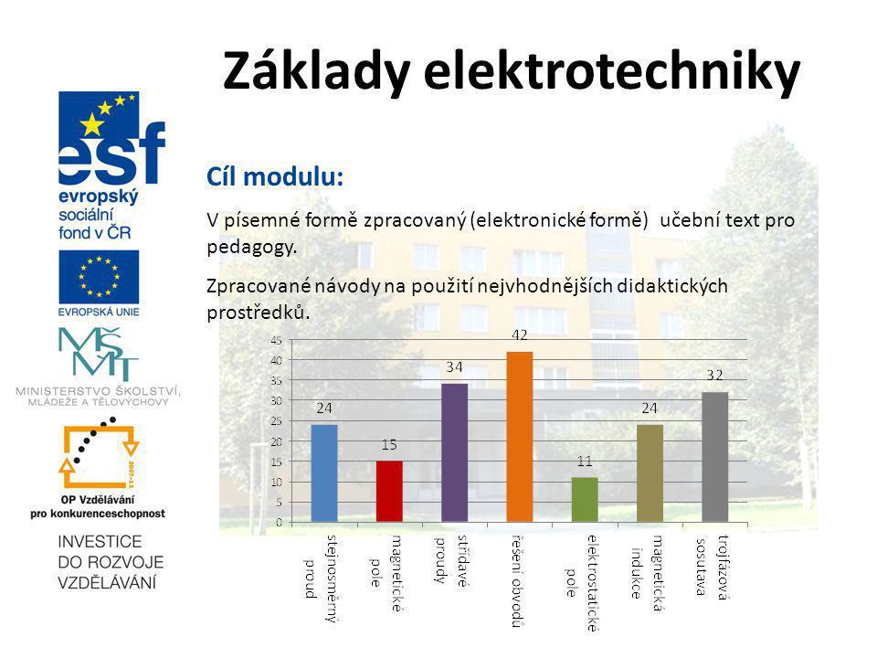 Základy elektrotechniky Cíl modulu: V písemné formě zpracovaný (elektronické formě) učební text pro pedagogy.