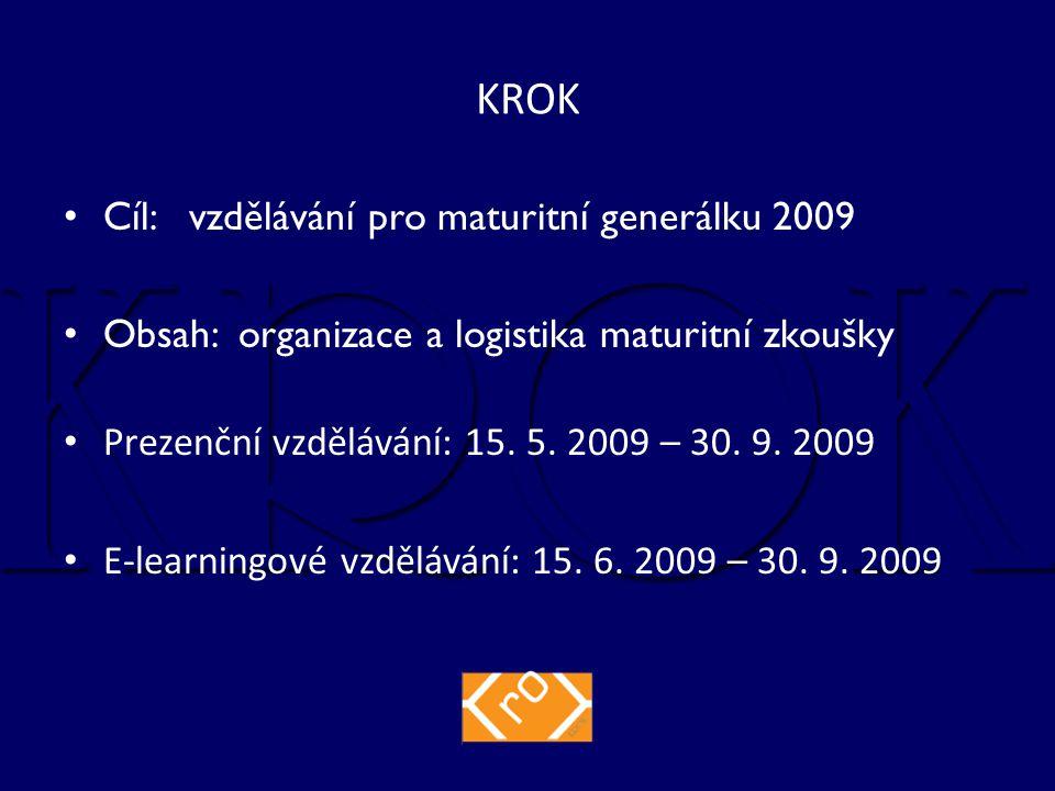 Cíl: vzdělávání pro maturitní generálku 2009 Obsah: organizace a logistika maturitní zkoušky Prezenční vzdělávání: 15.