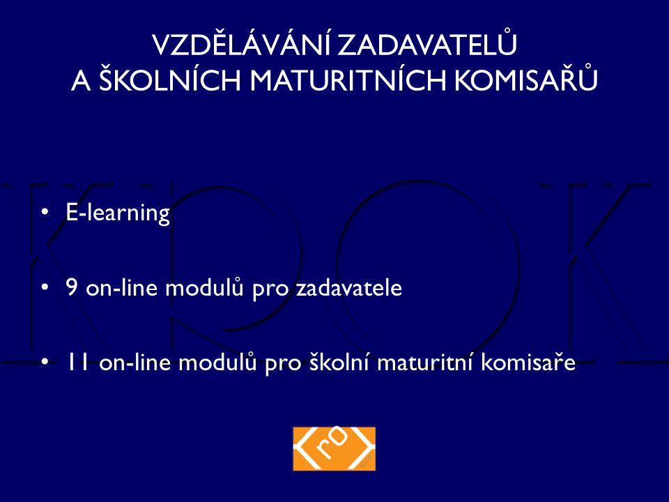 VZDĚLÁVÁNÍ ZADAVATELŮ A ŠKOLNÍCH MATURITNÍCH KOMISAŘŮ E-learning 9 on-line modulů pro zadavatele 11 on-line modulů pro školní maturitní komisaře