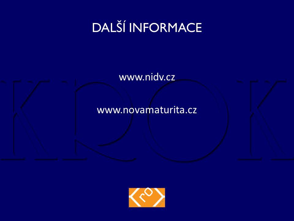 DALŠÍ INFORMACE www.nidv.cz www.novamaturita.cz