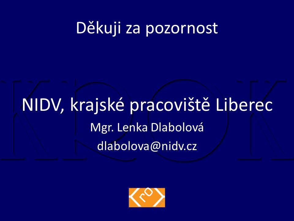 Děkuji za pozornost NIDV, krajské pracoviště Liberec Mgr. Lenka Dlabolová dlabolova@nidv.cz