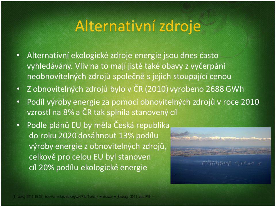 Alternativní zdroje Alternativní ekologické zdroje energie jsou dnes často vyhledávány. Vliv na to mají jistě také obavy z vyčerpání neobnovitelných z