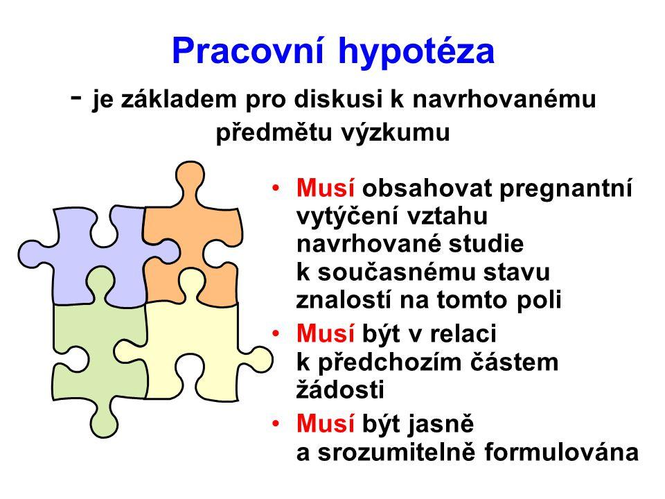 Pracovní hypotéza - je základem pro diskusi k navrhovanému předmětu výzkumu Musí obsahovat pregnantní vytýčení vztahu navrhované studie k současnému stavu znalostí na tomto poli Musí být v relaci k předchozím částem žádosti Musí být jasně a srozumitelně formulována