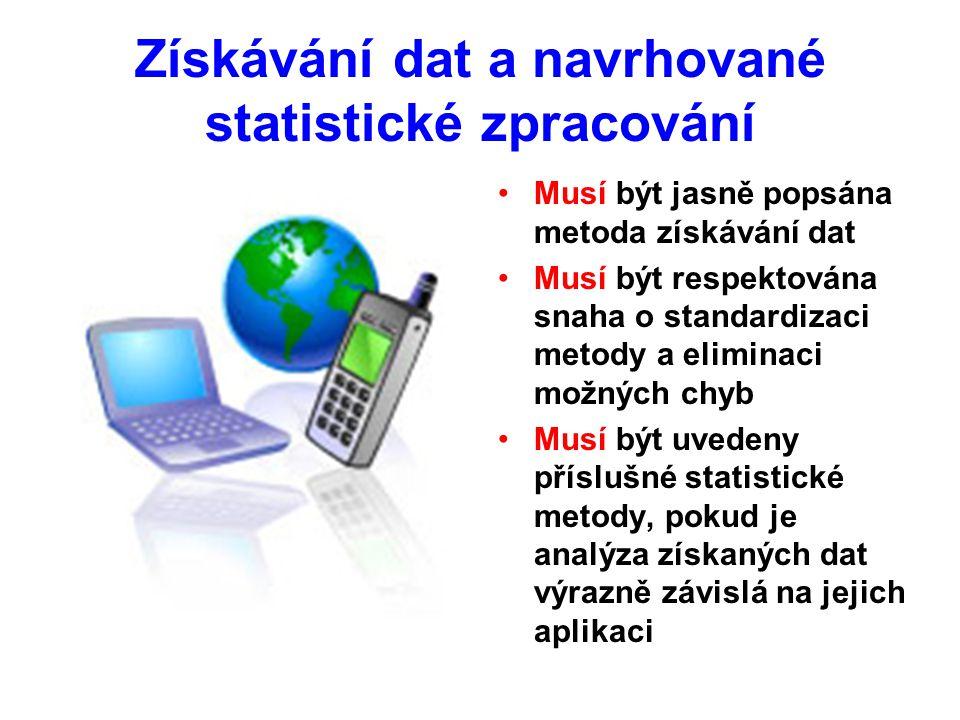 Získávání dat a navrhované statistické zpracování Musí být jasně popsána metoda získávání dat Musí být respektována snaha o standardizaci metody a eliminaci možných chyb Musí být uvedeny příslušné statistické metody, pokud je analýza získaných dat výrazně závislá na jejich aplikaci