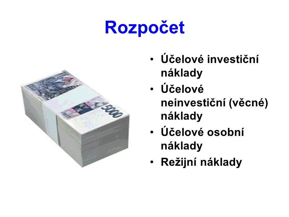 Rozpočet Účelové investiční náklady Účelové neinvestiční (věcné) náklady Účelové osobní náklady Režijní náklady