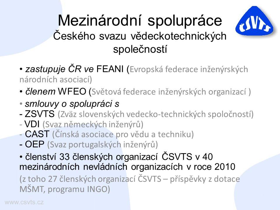 Mezinárodní spolupráce Českého svazu vědeckotechnických společností zastupuje ČR ve FEANI ( Evropská federace inženýrských národních asociací) členem WFEO ( Světová federace inženýrských organizací ) smlouvy o spolupráci s - ZSVTS (Zväz slovenských vedecko-technických spoločností) - VDI (Svaz německých inženýrů) - CAST (Čínská asociace pro vědu a techniku) - OEP (Svaz portugalských inženýrů) členství 33 členských organizací ČSVTS v 40 mezinárodních nevládních organizacích v roce 2010 (z toho 27 členských organizací ČSVTS – příspěvky z dotace MŠMT, programu INGO)