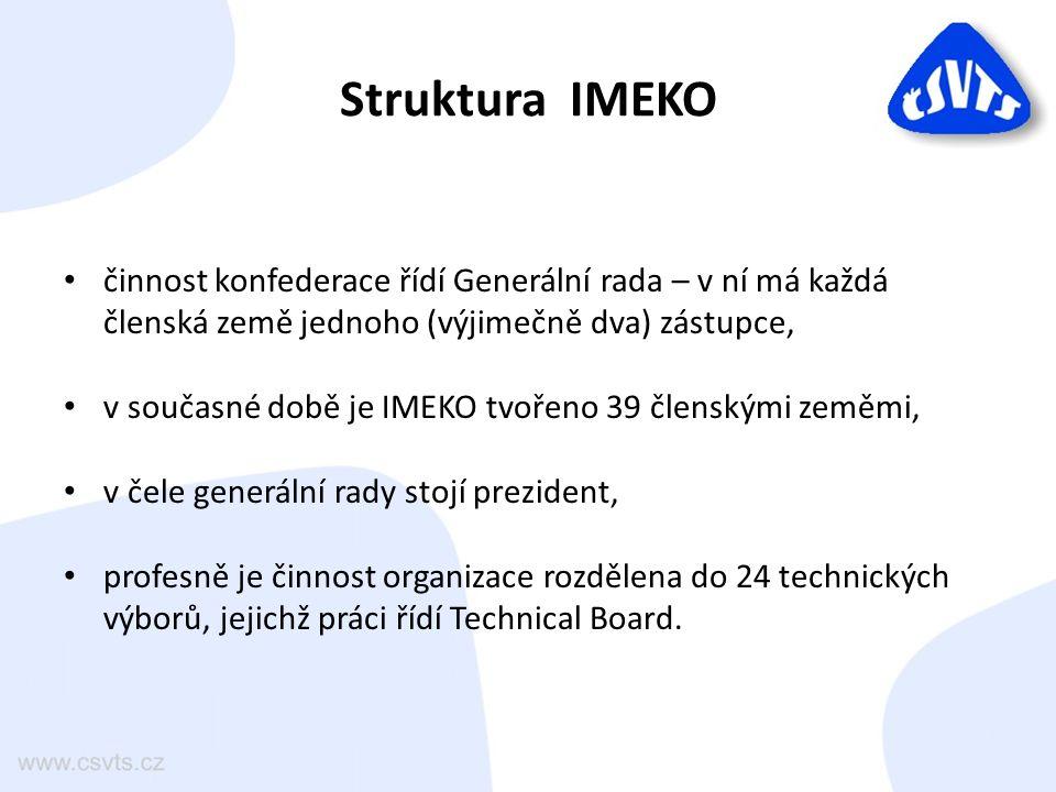 Zastoupení CNK IMEKO v IMEKO Do práce IMEKO jsou zapojení i čeští odborníci: – v současné době máme zastoupení ve 20 technických výborech, – v Generální radě (dříve Doc.