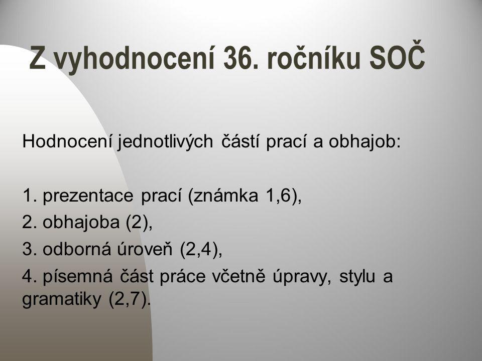 Z vyhodnocení 36.ročníku SOČ Hodnocení jednotlivých částí prací a obhajob: 1.