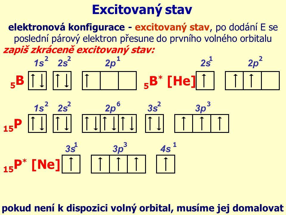 1s 2s 2p 5B5B 221 1s 2s 2p 3s 3p 15 P 22263 Excitovaný stav elektronová konfigurace - excitovaný stav, po dodání E se poslední párový elektron přesune do prvního volného orbitalu zapiš zkráceně excitovaný stav: 2s 2p 5 B * [He] 12 3s 3p 4s 15 P * [Ne] 131 pokud není k dispozici volný orbital, musíme jej domalovat
