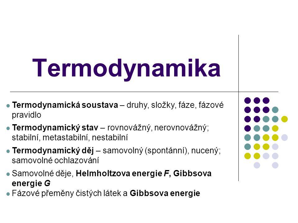 Termodynamika Termodynamická soustava – druhy, složky, fáze, fázové pravidlo Termodynamický stav – rovnovážný, nerovnovážný; stabilní, metastabilní, n