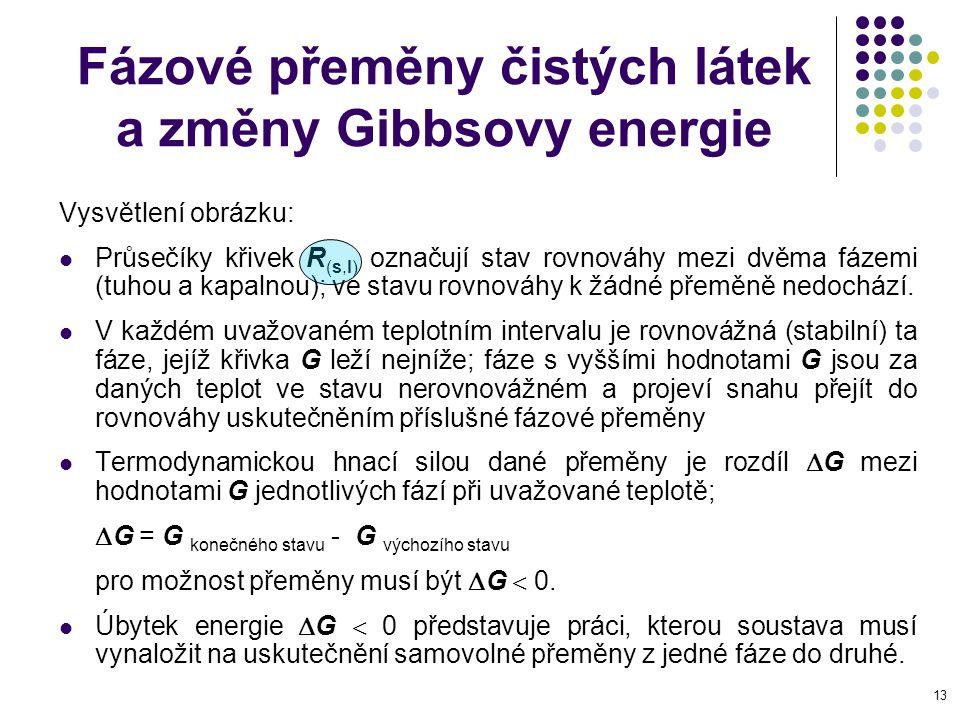 13 Fázové přeměny čistých látek a změny Gibbsovy energie Vysvětlení obrázku: Průsečíky křivek R (s,l) označují stav rovnováhy mezi dvěma fázemi (tuhou