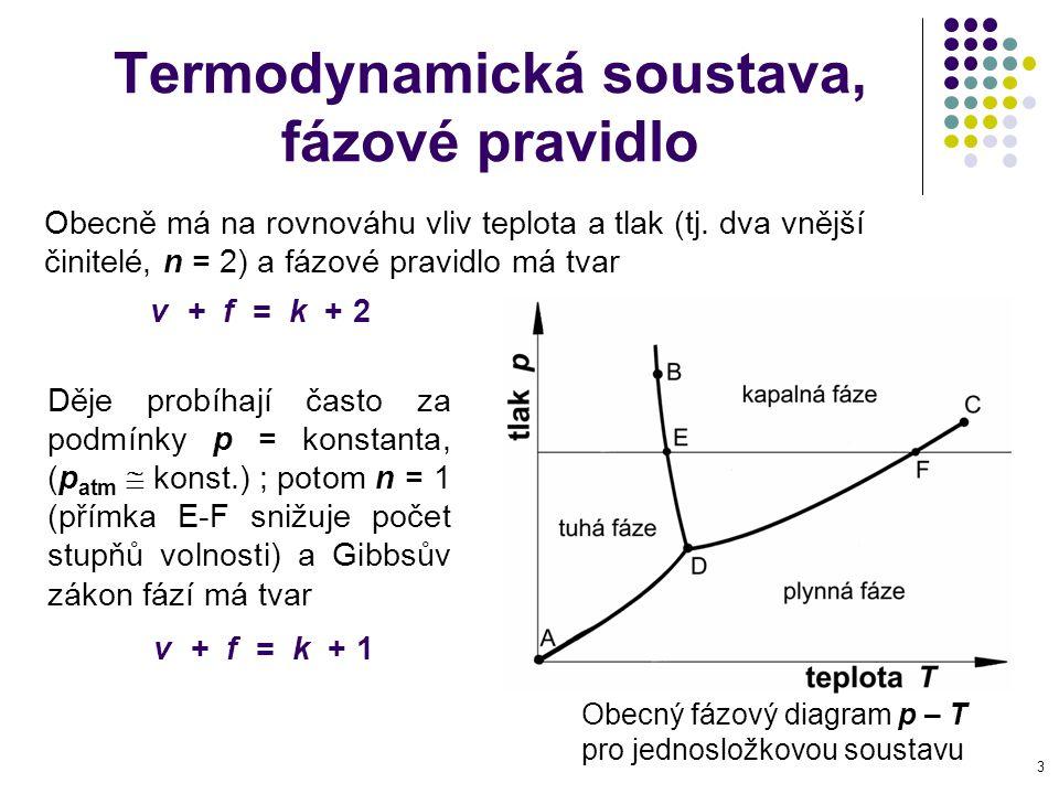 4 Termodynamická stav rovnovážný a nerovnovážný Stav látky = okamžitý způsob její existence; je dán hmotou, složením fází, teplotou, tlakem a objemem = stavovými veličinami.
