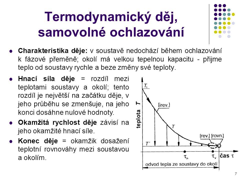 8 Základní principy termodynamiky Fenomenologická (popisná)termodynamika je založena na čtyřech základních axiomech, které jsou ve shodě se skutečností Nultá věta: jsou-li dvě tělesa A a B v tepelné rovnováze s třetím tělesem C, jsou v rovnováze i mezi sebou T A = T C a T B = T C, pak  T A = T B První věta: změna vnitřní energie dU uzavřeného systému je stavovou funkcí (její hodnota závisí pouze na počátečním a koncovém stavu sytému).
