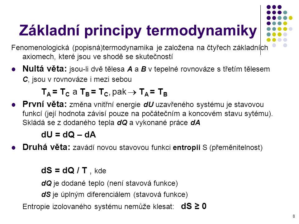 8 Základní principy termodynamiky Fenomenologická (popisná)termodynamika je založena na čtyřech základních axiomech, které jsou ve shodě se skutečnost
