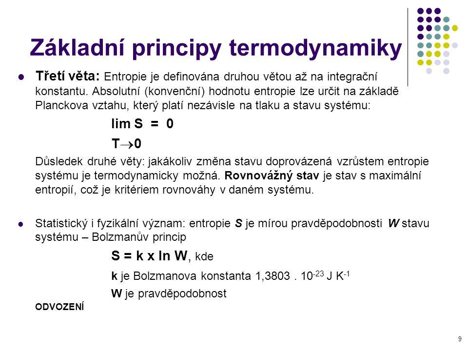9 Základní principy termodynamiky Třetí věta: Entropie je definována druhou větou až na integrační konstantu. Absolutní (konvenční) hodnotu entropie l
