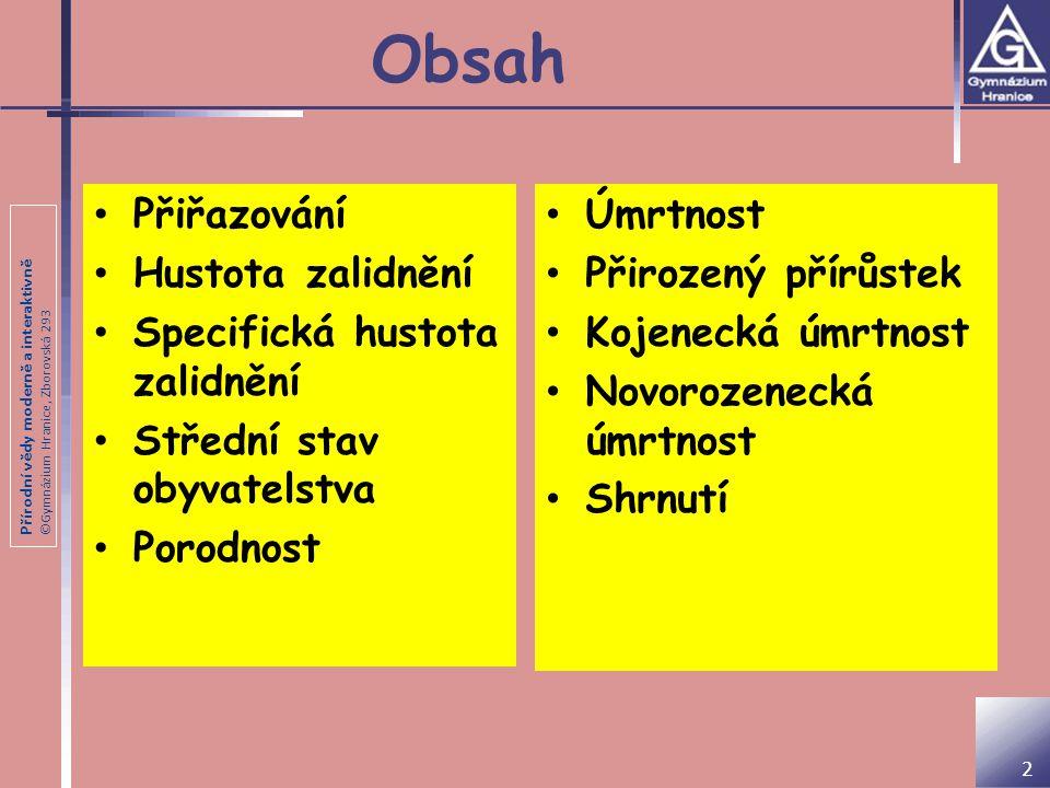 Přírodní vědy moderně a interaktivně ©Gymnázium Hranice, Zborovská 293 Utvořte správné dvojice (stát + počet obyv.