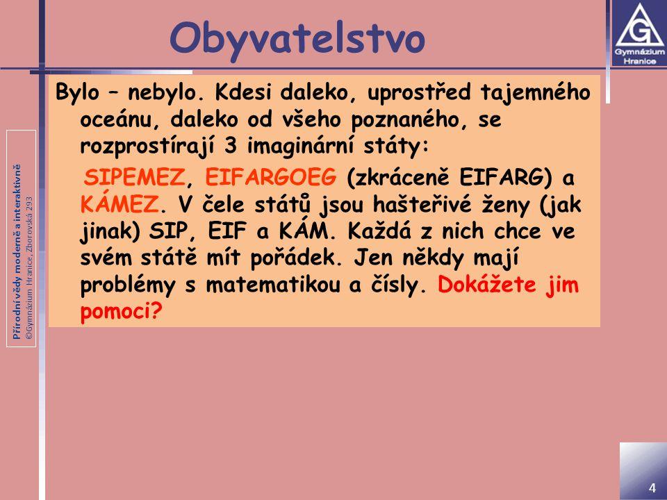Přírodní vědy moderně a interaktivně ©Gymnázium Hranice, Zborovská 293 Hustota zalidnění SIPEMEZEIFARGKÁMEZ Rozloha (v tis.