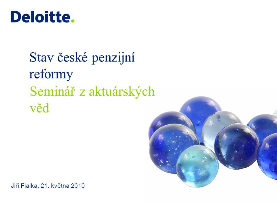 Stav české penzijní reformy Jiří Fialka, 21. května 2010 Seminář z aktuárských věd