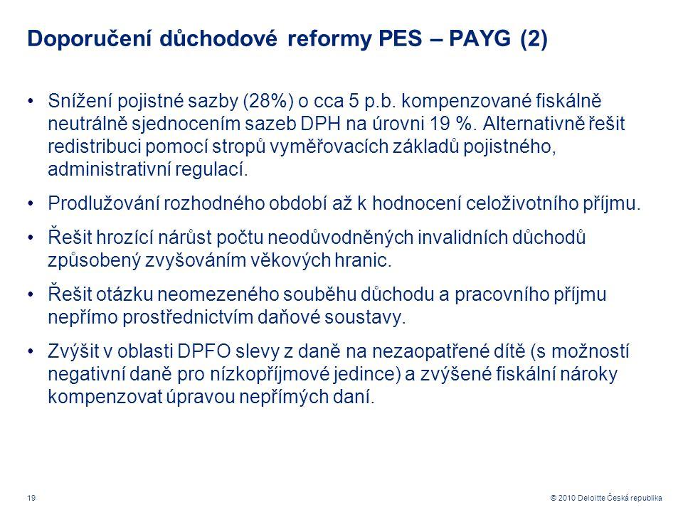 19 © 2010 Deloitte Česká republika Doporučení důchodové reformy PES – PAYG (2) Snížení pojistné sazby (28%) o cca 5 p.b.