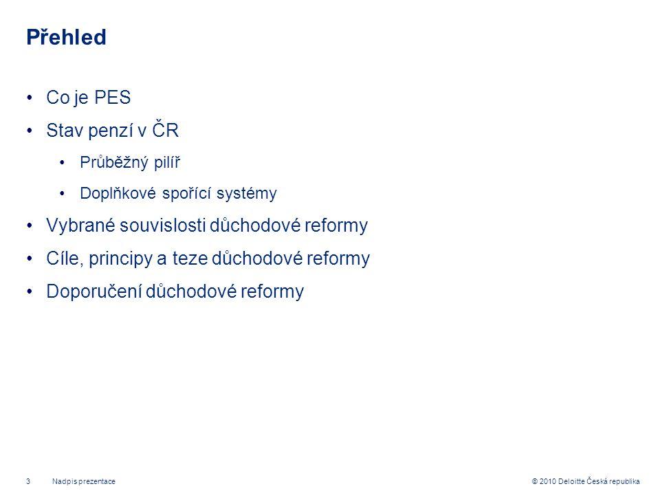 3 © 2010 Deloitte Česká republika Přehled Co je PES Stav penzí v ČR Průběžný pilíř Doplňkové spořící systémy Vybrané souvislosti důchodové reformy Cíle, principy a teze důchodové reformy Doporučení důchodové reformy Nadpis prezentace