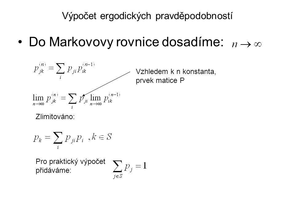 Výpočet ergodických pravděpodobností Do Markovovy rovnice dosadíme: Vzhledem k n konstanta, prvek matice P Zlimitováno: Pro praktický výpočet přidáváme: