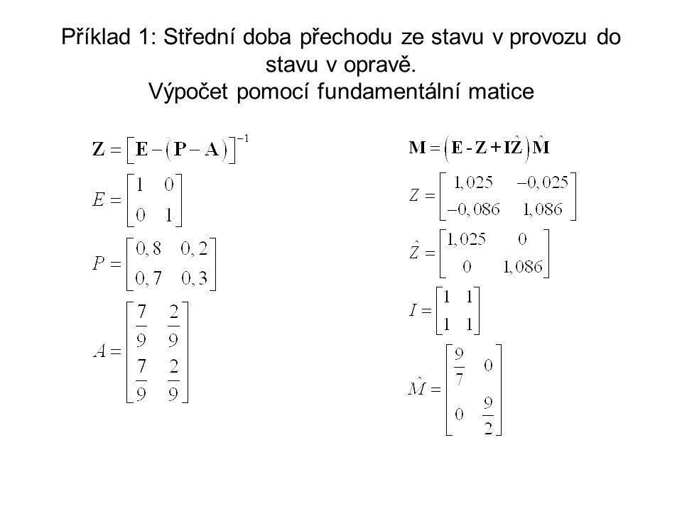 Příklad 1: Střední doba přechodu ze stavu v provozu do stavu v opravě.