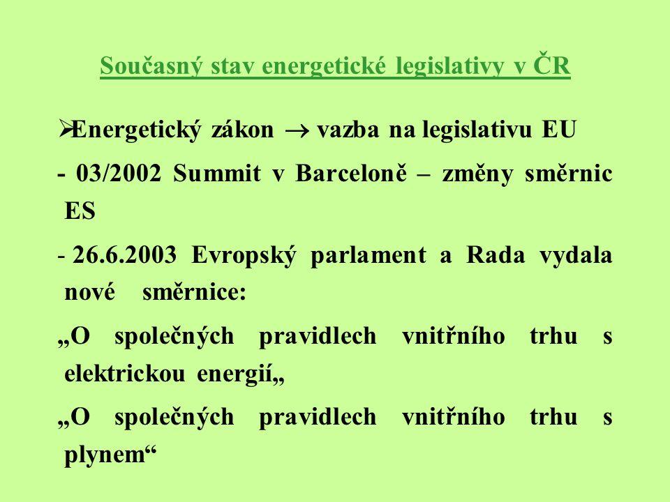 """Současný stav energetické legislativy v ČR  Energetický zákon  vazba na legislativu EU - 03/2002 Summit v Barceloně – změny směrnic ES - 26.6.2003 Evropský parlament a Rada vydala nové směrnice: """"O společných pravidlech vnitřního trhu s elektrickou energií"""" """"O společných pravidlech vnitřního trhu s plynem"""