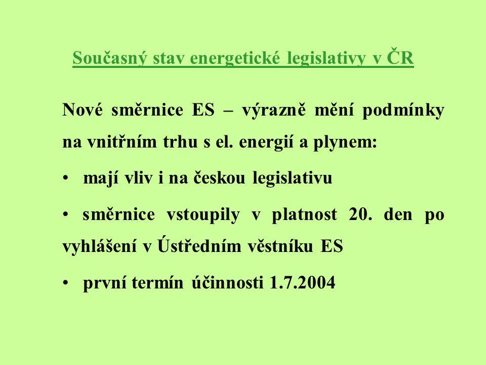 Současný stav energetické legislativy v ČR Nové směrnice ES – výrazně mění podmínky na vnitřním trhu s el.