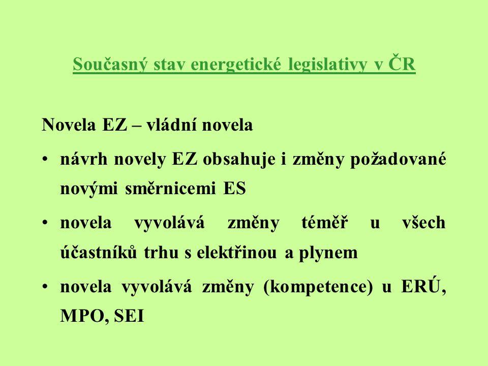 Současný stav energetické legislativy v ČR Novela EZ – poslanecká iniciativa v listopadu 2002 – návrh novely poslance Krause na změnu termínů zbývajících etap otevření trhu s elektrickou energií v prosinci 2002 vláda ČR zamítla po 1.