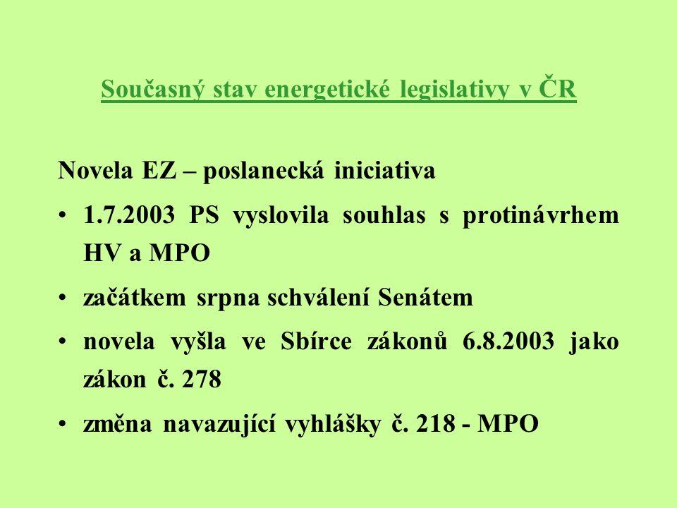 Současný stav energetické legislativy v ČR Novela EZ – poslanecká iniciativa posunutí termínů – oprávnění zákazníci od 1.1.2004 jsou koneční zákazníci s průběhovým měřením spotřeby elektrické energie mimo domácností od 1.1.2005 jsou oprávnění zákazníci všichni koneční zákazníci mimo domácností konečný termín úplného otevření trhu s elektrickou energií se nemění (1.1.2006) vazba novely EZ na nové směrnice EU