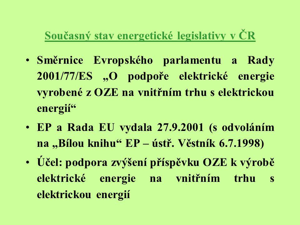 """Současný stav energetické legislativy v ČR Směrnice Evropského parlamentu a Rady 2001/77/ES """"O podpoře elektrické energie vyrobené z OZE na vnitřním trhu s elektrickou energií EP a Rada EU vydala 27.9.2001 (s odvoláním na """"Bílou knihu EP – ústř."""