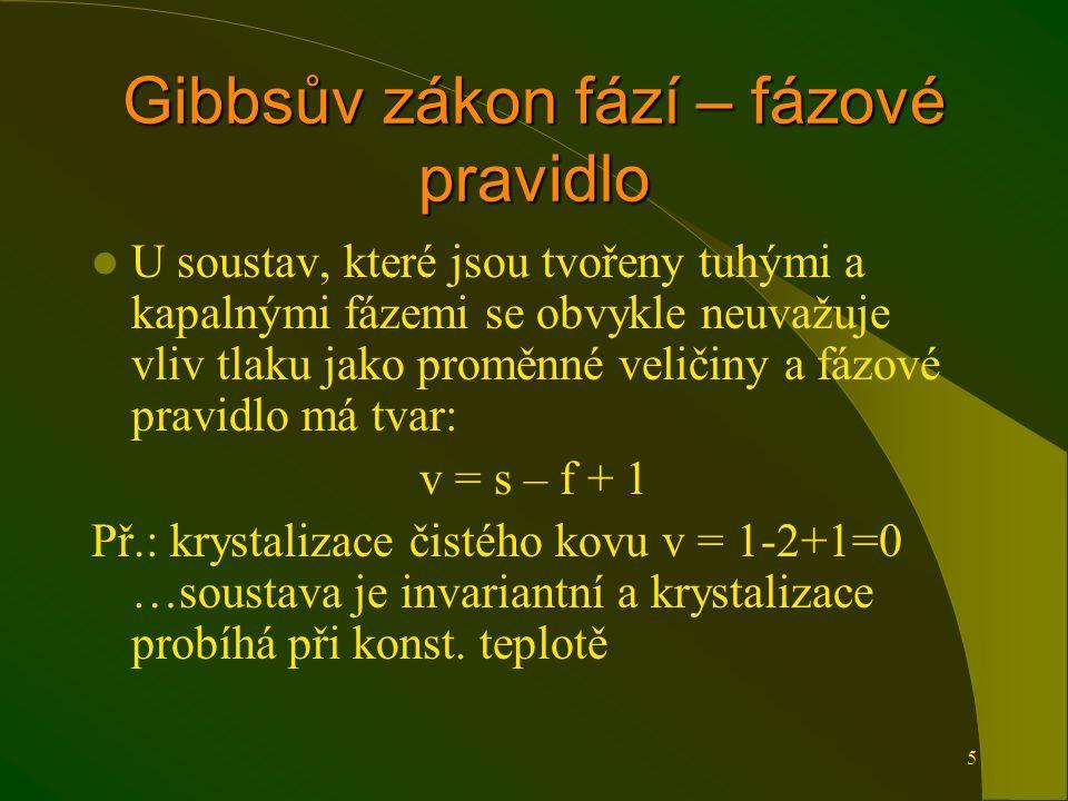 5 Gibbsův zákon fází – fázové pravidlo U soustav, které jsou tvořeny tuhými a kapalnými fázemi se obvykle neuvažuje vliv tlaku jako proměnné veličiny a fázové pravidlo má tvar: v = s – f + 1 Př.: krystalizace čistého kovu v = 1-2+1=0 …soustava je invariantní a krystalizace probíhá při konst.