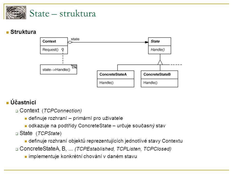 Struktura Účastníci  Context (TCPConnection) definuje rozhraní – primární pro uživatele odkazuje na podtřídy ConcreteState – určuje současný stav  State (TCPState) definuje rozhraní objektů reprezentujících jednotlivé stavy Contextu  ConcreteStateA, B,...