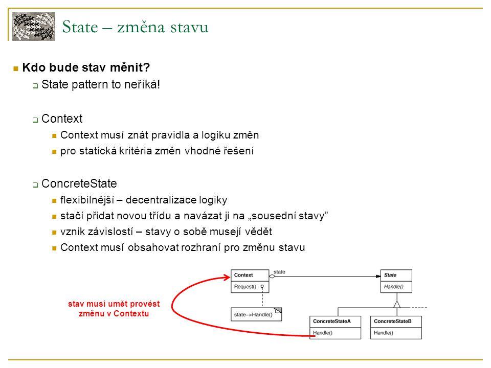 State – změna stavu Kdo bude stav měnit.  State pattern to neříká.