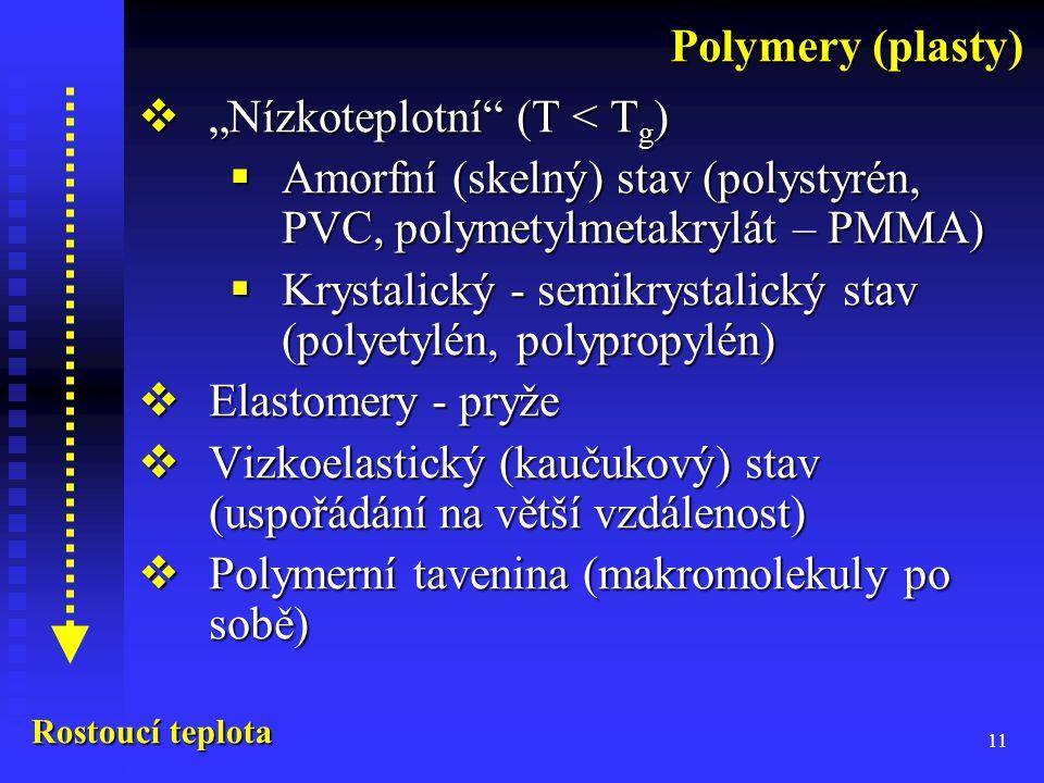 """11  """"Nízkoteplotní (T < T g )  Amorfní (skelný) stav (polystyrén, PVC, polymetylmetakrylát – PMMA)  Krystalický - semikrystalický stav (polyetylén, polypropylén)  Elastomery - pryže  Vizkoelastický (kaučukový) stav (uspořádání na větší vzdálenost)  Polymerní tavenina (makromolekuly po sobě) Polymery (plasty) Rostoucí teplota"""