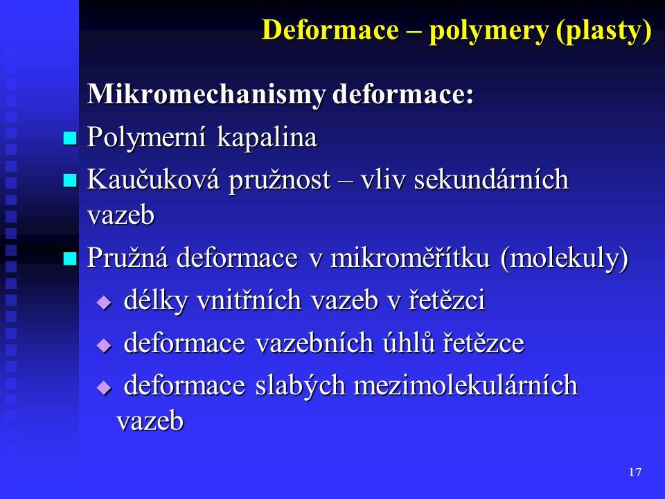 17 Mikromechanismy deformace: Polymerní kapalina Polymerní kapalina Kaučuková pružnost – vliv sekundárních vazeb Kaučuková pružnost – vliv sekundárních vazeb Pružná deformace v mikroměřítku (molekuly) Pružná deformace v mikroměřítku (molekuly)  délky vnitřních vazeb v řetězci  deformace vazebních úhlů řetězce  deformace slabých mezimolekulárních vazeb Deformace – polymery (plasty)