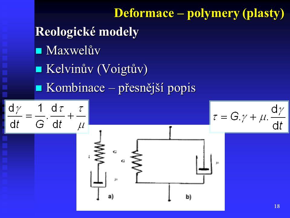 18 Reologické modely Maxwelův Maxwelův Kelvinův (Voigtův) Kelvinův (Voigtův) Kombinace – přesnější popis Kombinace – přesnější popis Deformace – polym