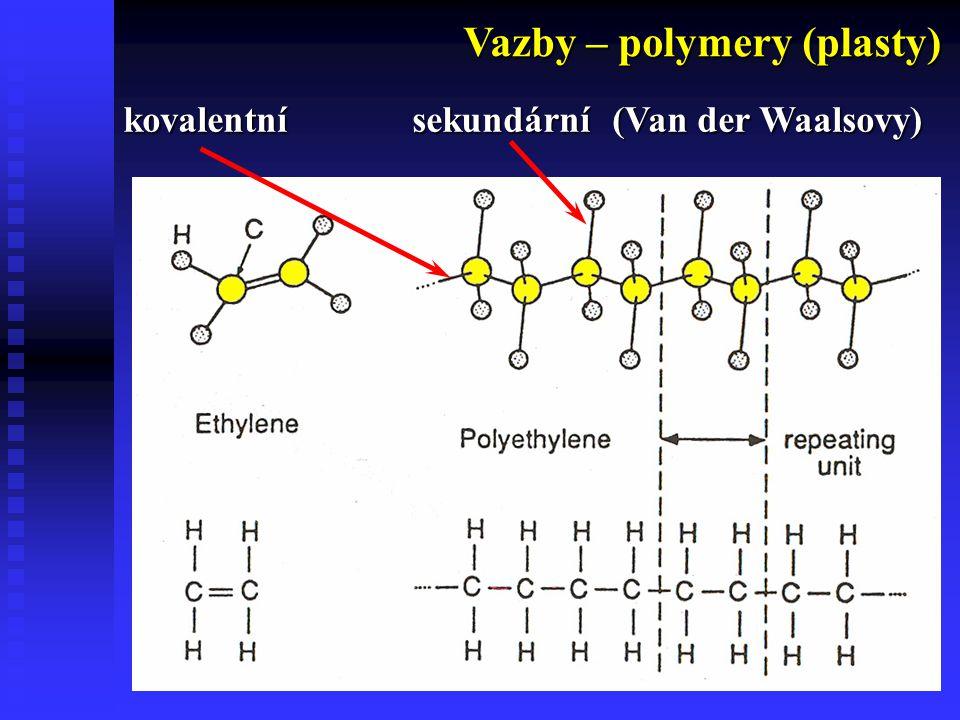 4 Vazby – polymery (plasty) kovalentní sekundární (Van der Waalsovy)