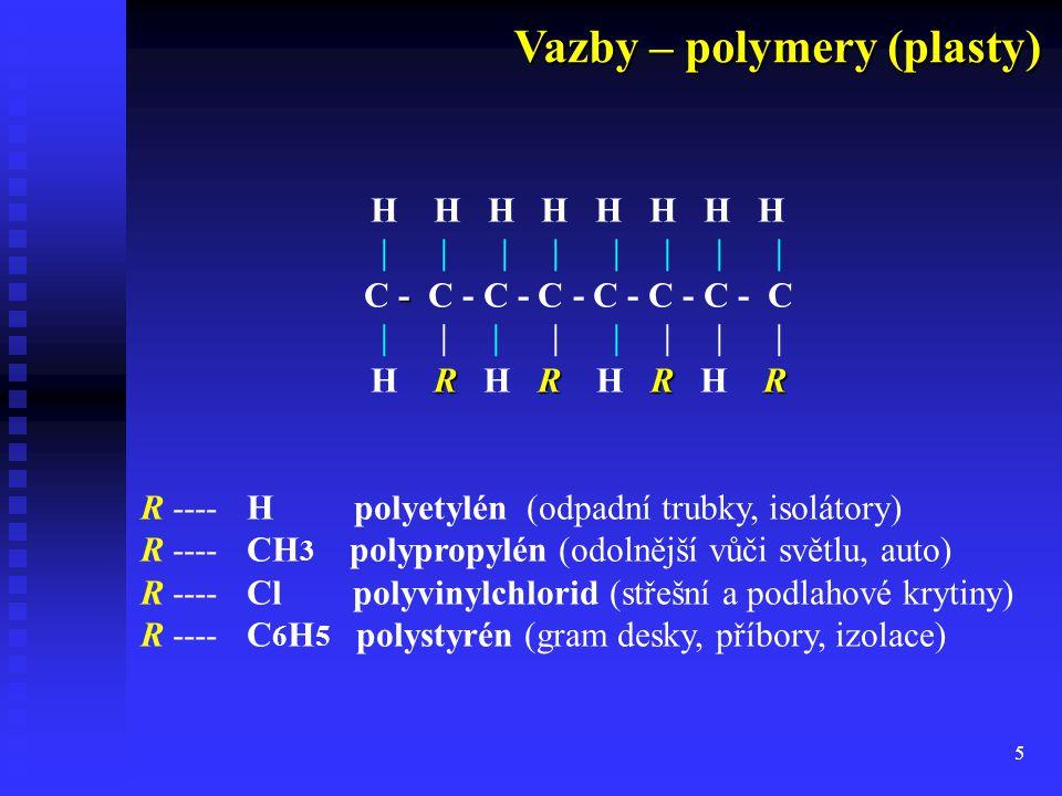5 H H H H         - C - C - C - C         RRR R H R H R H R H R R ---- H polyetylén (odpadní trubky, isolátory) R ---- CH 3 polypropylén (odolnější vůči světlu, auto) R ---- Clpolyvinylchlorid (střešní a podlahové krytiny) R ---- C 6 H 5 polystyrén (gram desky, příbory, izolace) Vazby – polymery (plasty) Vazby – polymery (plasty)