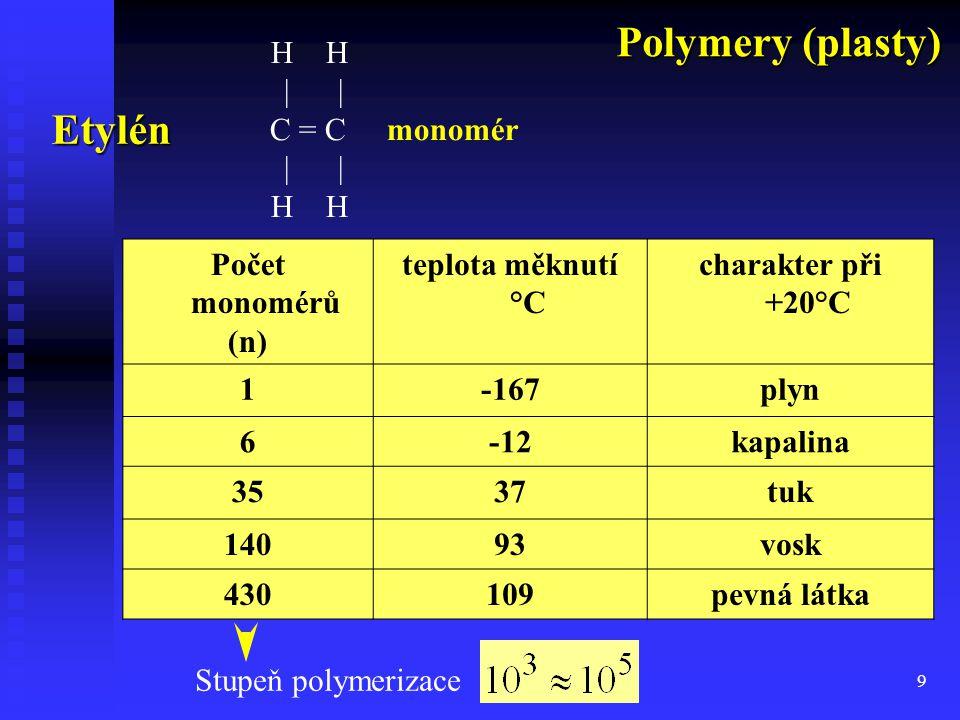 9 Etylén Počet monomérů (n) teplota měknutí °C charakter při +20°C 1-167plyn 6-12kapalina 3537tuk 14093vosk 430109pevná látka Stupeň polymerizace H   C = C monomér   H Polymery (plasty)