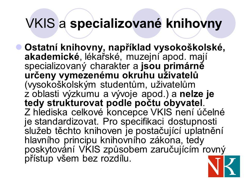 VKIS a specializované knihovny Ostatní knihovny, například vysokoškolské, akademické, lékařské, muzejní apod.